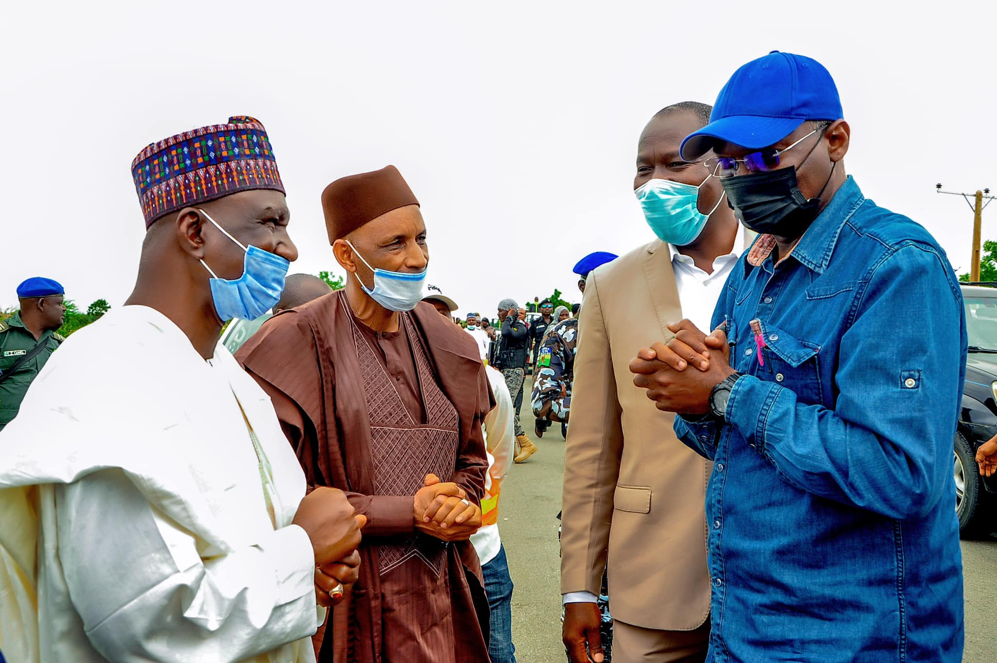 Mr. Fashola with Yobe SSG, Baba Malam Wali during the inspection