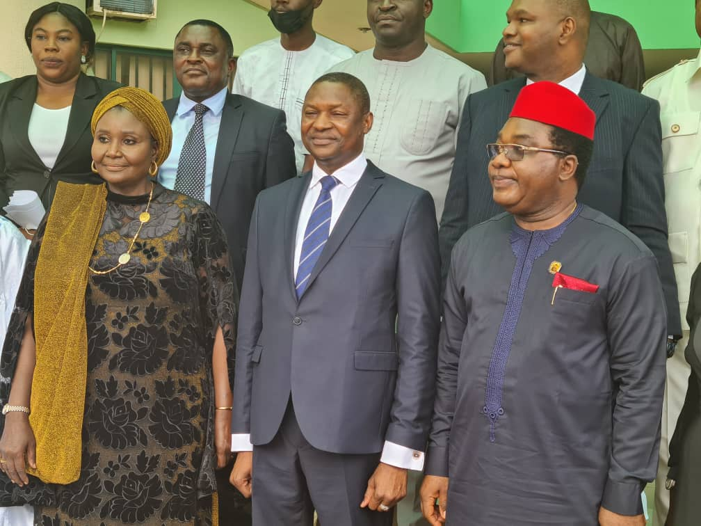 L-R: Mrs Salamatu Suleiman, Chairperson of the governing council of the NHRC; Abubakar Malami, Attorney General and Minister of Justice and Tony Ojukwu, Executive Secretary, NHRC in a group photograph with other members of the council shortly after their inauguration on Monday in Abuja.