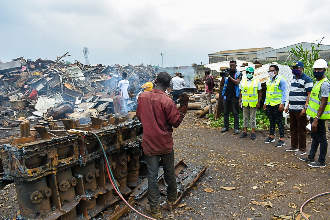 Officials of the Lagos State Environmental Protection Agency (LASEPA) sealing the facilities