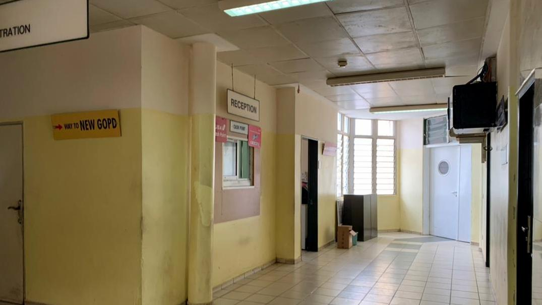 Empty reception and cash point at national hospital Abuja
