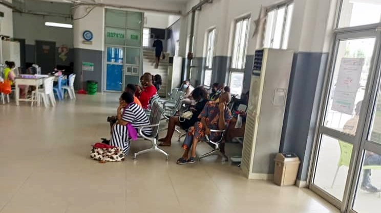 Patients waiting at the reception at FMC in Jabi to receive care.