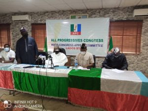 The Lagos State APC Ward Congress Appeal Committee at the meeting in Lagos APC Secretariat on Wednesday.