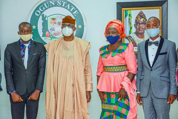 From left: Mr Odeogbola Ayodele. Governor Dapo Abiodun, Mrs Akinbiyi Mary Adeyemi,  and Mr Adewale Kayode Abayomi