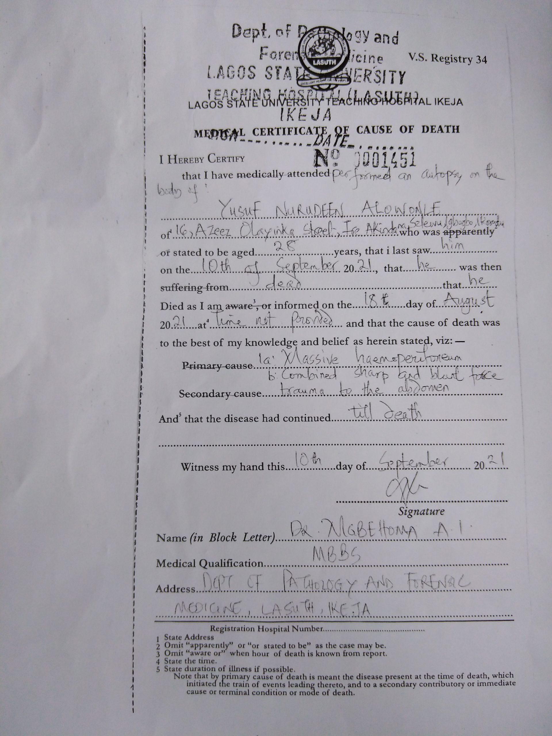 Yusuf Alowonle's autopsy