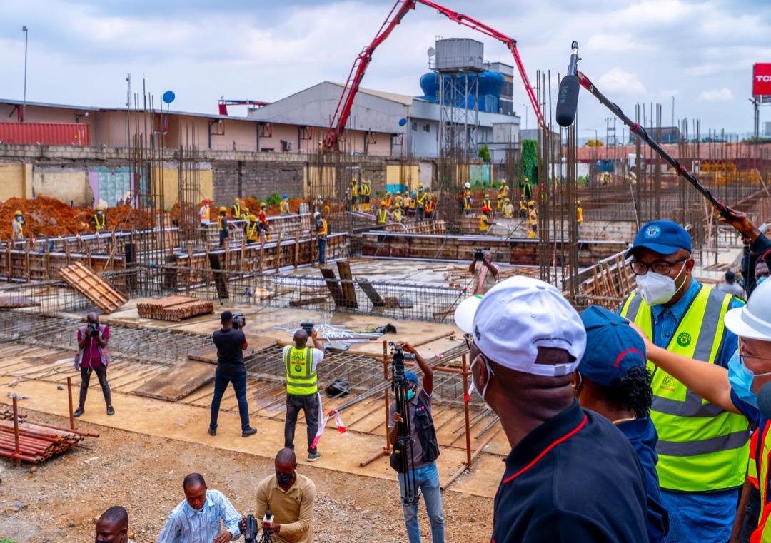 R-L: Lagos State Governor, Mr. Babajide Sanwo-Olu; Managing Director, Lagos Metropolitan Area Transport Authority (LAMATA), Engr. Abimbola Akinajo and Director Rail Transportation, LAMATA, Engr. Olasunkanmi Okusaga, during an inspection of the Lagos Rail Mass Transit Red Line Project at Ikeja, on Saturday, September 25, 2021.