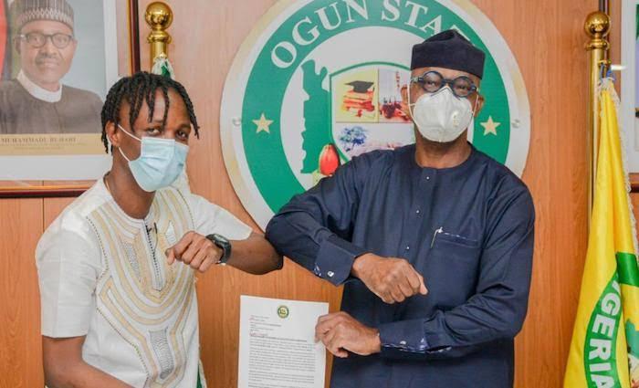 Governor Abiodun and 2020 BBNaija winner, Lycon