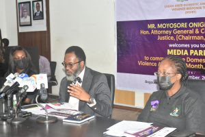 Mr Onigbanjo and Director Citizen's Rights, Oluwatoyin Odusanya, during a media parley to commence the Domestic and Sexual Violence Awareness Month, September 2021 in Lagos