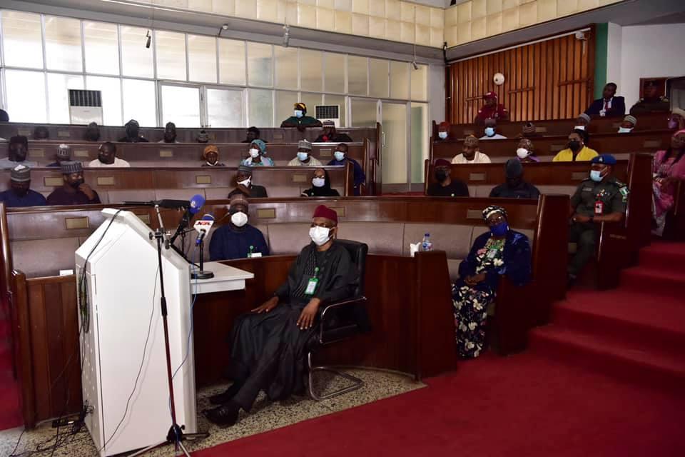 Kaduna State Governor, Nasir El-Rufai presenting the state's 2022 budget