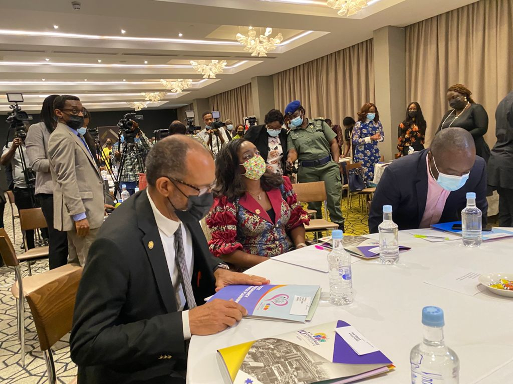 Commissioner for Health, Lagos, Akin Abayomi; wife of the Lagos State Governor, Ibijoke Sanwo-Olu, and Permanent Secretary, Ministry of Health, Lagos, Olusegun Ogboye