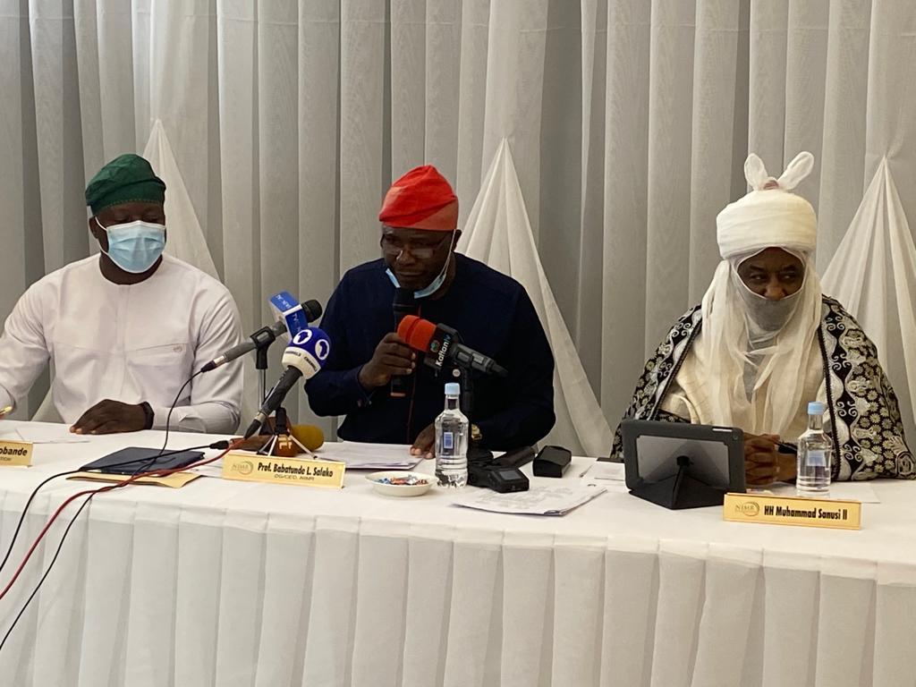L-R: Executive Director, NIMR Foundation, Olajide Sobande; NIMR DG, Babatunde Salako, and former CBN Governor, Muhammad Sanusi II, at the public presentation of NIMR Foundation in Lagos on Tuesday. Photo: MOJEED ALABI