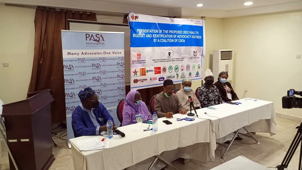 Members of the Partnership for Advocacy on Child and Family Health (PACFaH@Scale), a coalition of 23 civil society organisations during the presentation of 2022 budget proposal for health on Wednesday.