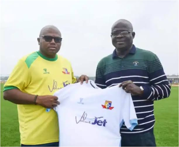 Fidelis Ilechukwu while being unveiled as Plateau United coach