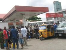 Long queue at filling station