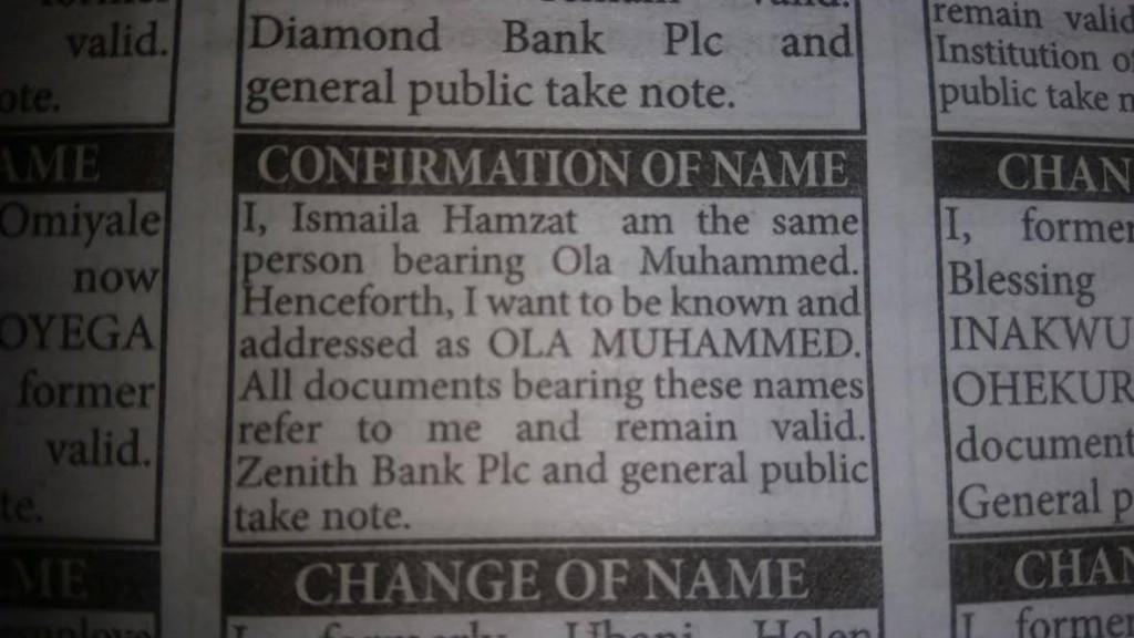 Newspaper Change of Names