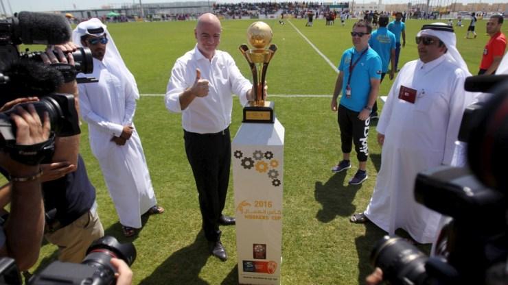 Bildergebnis für qatar fifa world cup infantino good news for fifa ahead of next world cup GOOD NEWS FOR FIFA AHEAD OF NEXT WORLD CUP RTX2B5WU