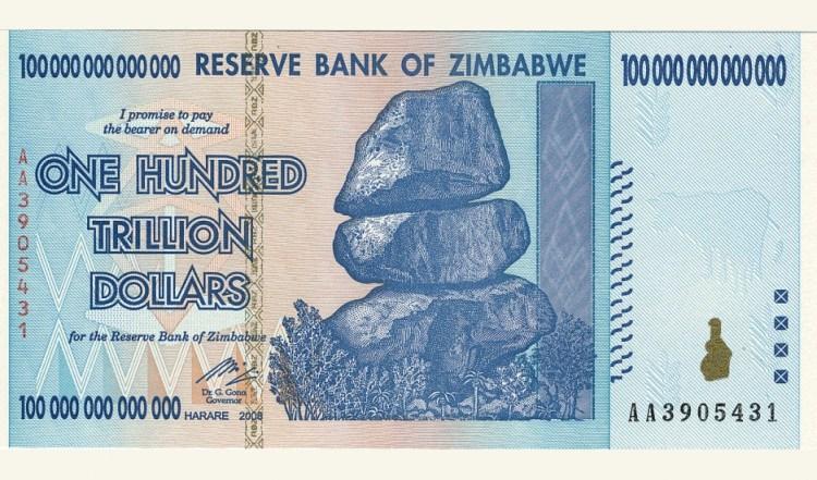 Image result for 100 trillion zimbabwe dollars