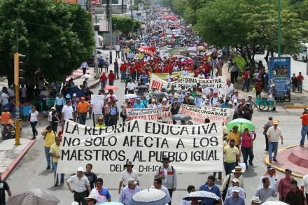 La protesta magisterial en Chiapas. Foto: Isaín Mandujano