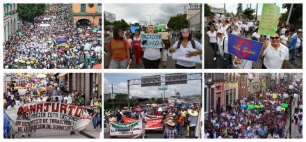 Veracruz, Oaxaca, Guanajuato, Guerrero, Puebla. Escala conflicto magisterial. Fotos: M. Carmona, J. Cruz, J. Ceballos, J. Torres, V. Rojas