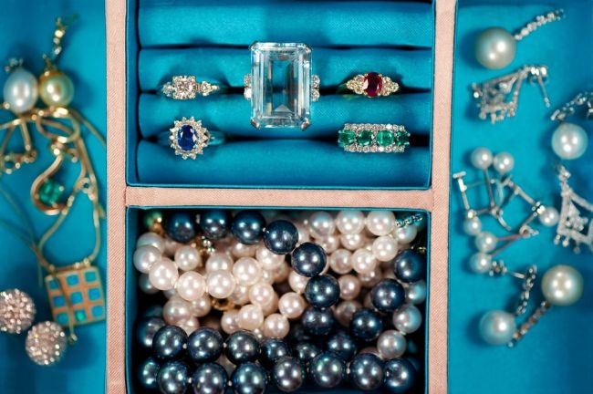 expensive jewelry in a jewelry box