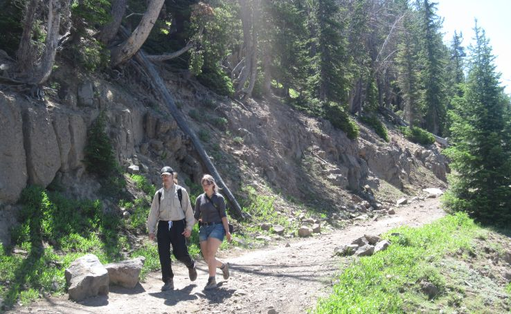 hikers on their way down from Mount Washburn in Yellowstone National Park in Wyoming