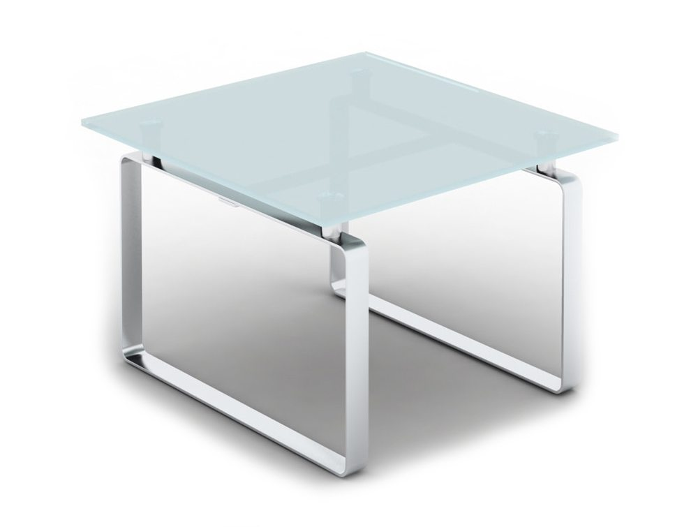 loop square glass coffee table with closed chrome frame