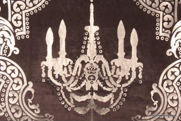 Incredible Velvet Foil Embossed Chandelier With Rhinestone Accents Fabric Cr159