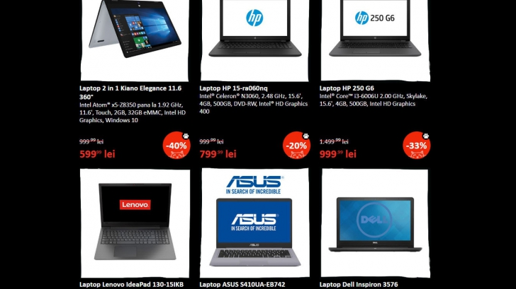 eMAG Black Friday 2018 laptopuri - Cele mai bune 12 oferte