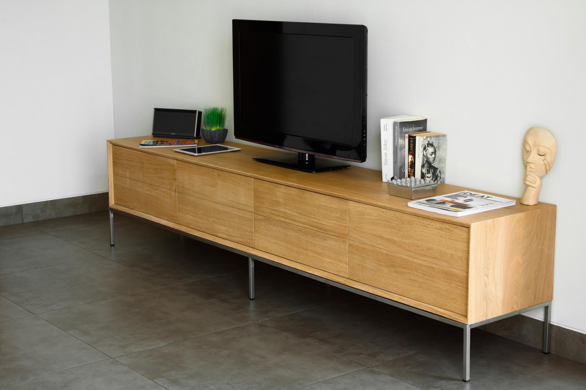 meuble tv cute kubico chene massif delorm bois clair
