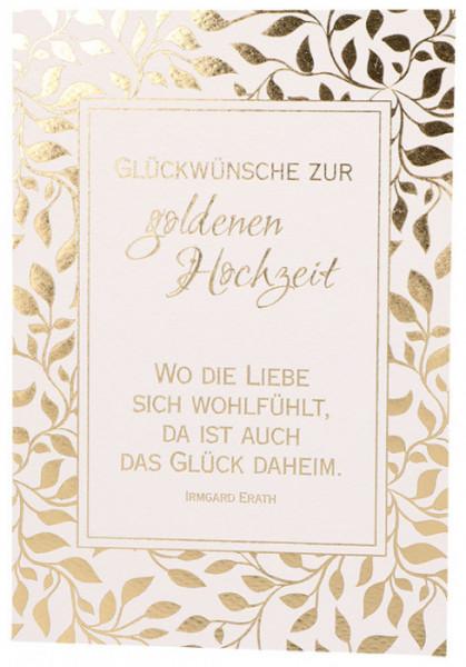 Hochzeitskarte Amelie Mit Wunderschonen Farnen In Gold Auch