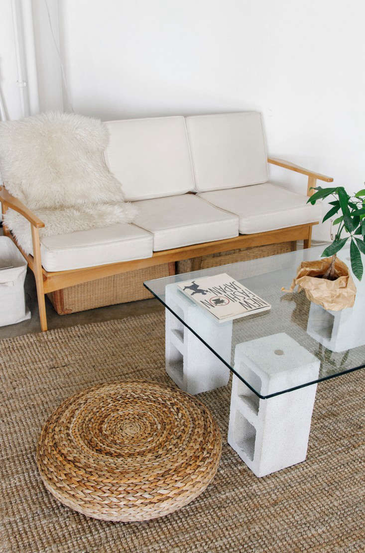 100 glass and concrete coffee table