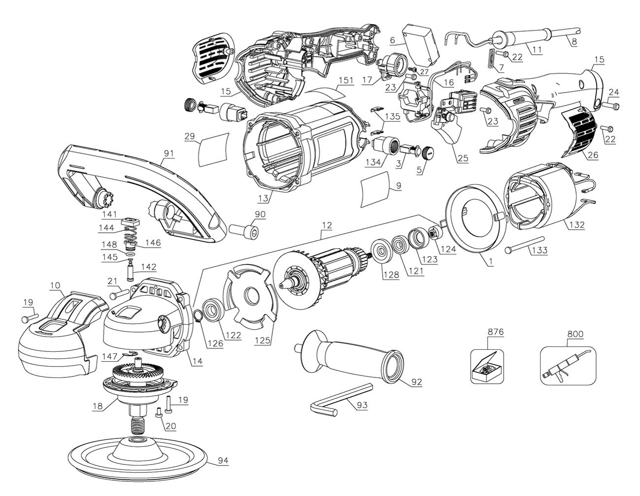 Dewalt Dwp849x B3 Type 1 Parts List