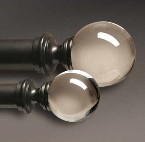 Estate Crystal Ball Finials Oil Rubbed Bronze Set Of 2