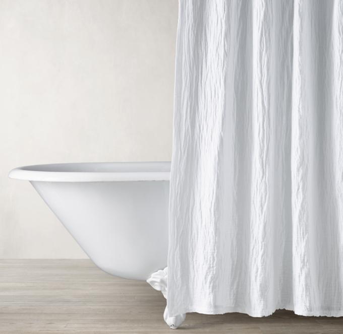 italian crinkled linen cotton shower