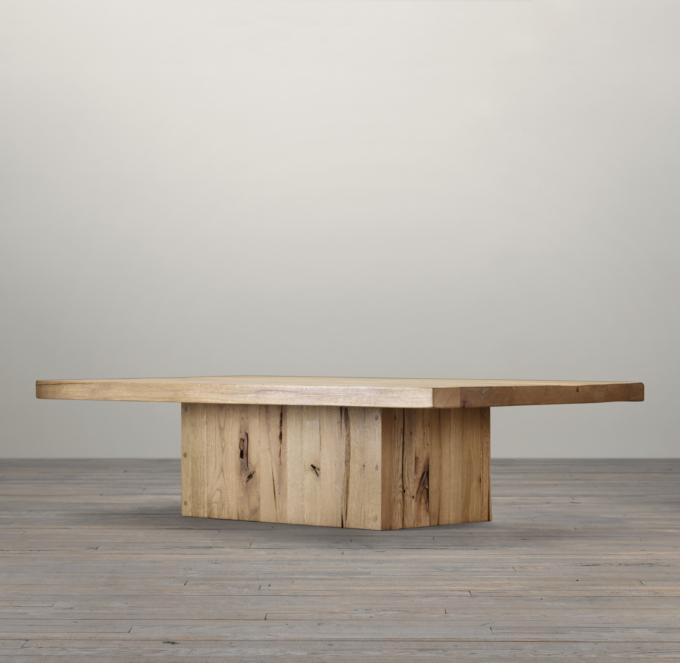 Reclaimed Russian Oak Plinth Rectangular Coffee Table