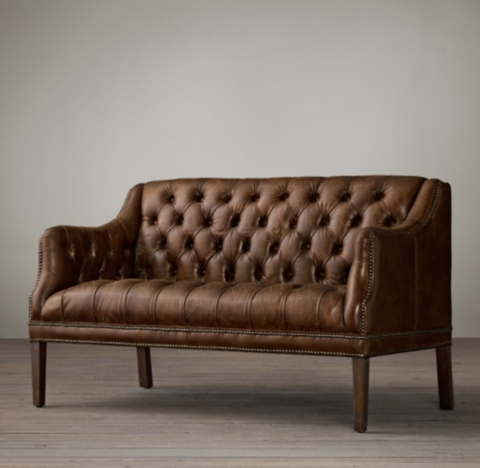 Everett Tufted Leather Settee