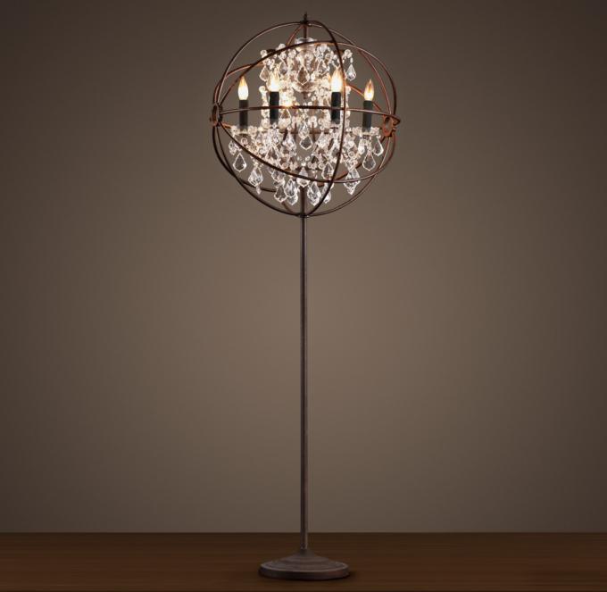 Foucaults Orb Clear Crystal Floor Lamp