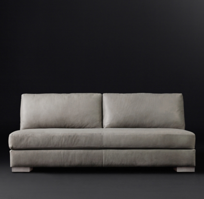 modena track arm leather armless sofa