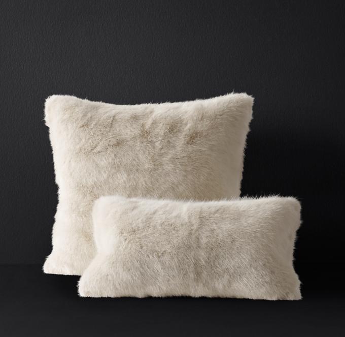 ultra faux fur pillow cover cream