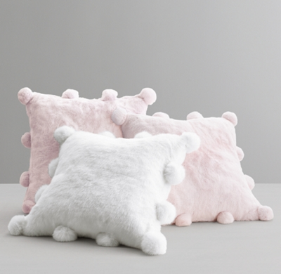 luxe faux fur pom pom pillow cover insert