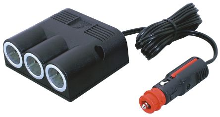 Pro-Car Triple Power Socket Pro-Car triple power socket with a universal plug rated at 16A, connection is possible to all standard cigarette lighter sockets and DIN standard sockets, 12-24V, 16A max. with three sockets.  PRO-CAR Vehicle Power Connectors A comprehensive offering of 12-24V on board power vehicle connectors for cars, trucks, motorcycles and boats, ranging from panel mount and surface mount standard and stand alone usb panel mount sockets, to triple output adaptors, usb output connectors, power plugs and more. These power connectors are suitable for all 12-24v vehicle based output sockets and plugs and power sources, for connecting multiple items to one output source, such as sat navs, mobile phones, Ipads, tablet pc's, miniature TV's, compact refrigeration units and many more. These 12V vehicle power output devices feature varying output power specifications from 1A to 20A to suit many applications. Colour: Black. Gender: Female. Mounting Type: Surface Mount. Current Rating: 16A. Manufacturer: Pro Car., MPN: 67601500