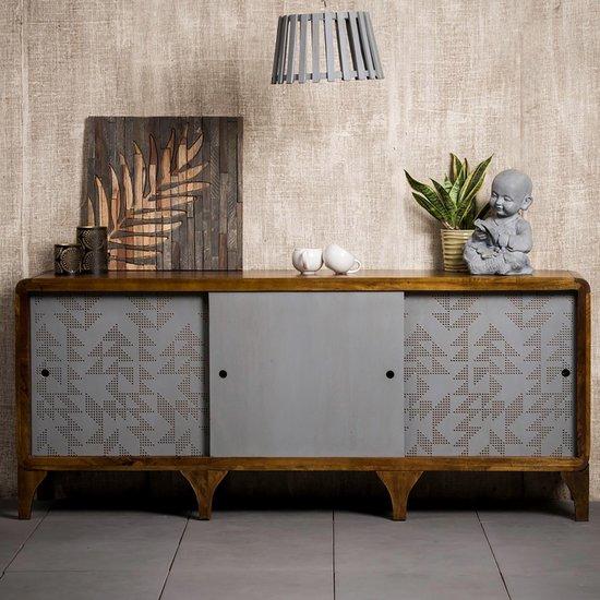 native home dressoir hout 180 cm commode keuken sideboard woonkamer bruin lamellen