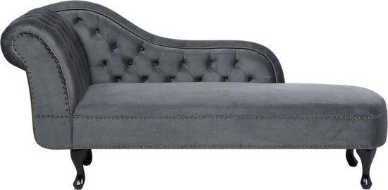 beliani nimes chaise longue grijs fluweel