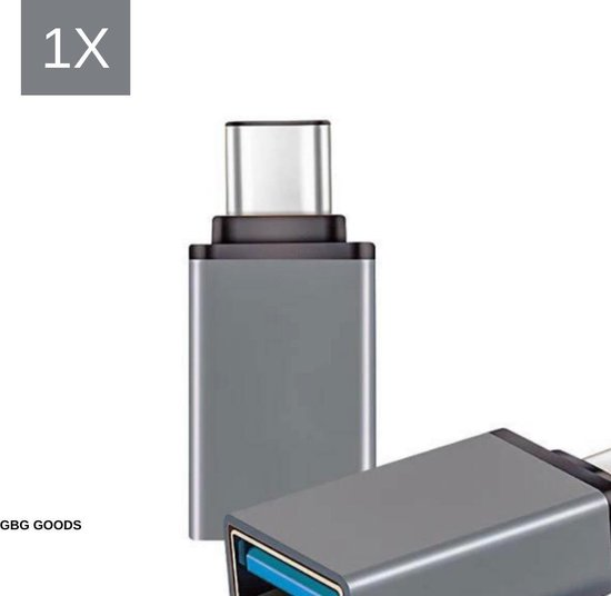 USB-C naar USB-A On-The-Go Adapter/Converter - 1 Stuk - Space Grey