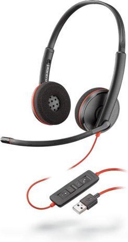 POLY Blackwire C3220 Headset Hoofdband USB Type-A Zwart, Rood