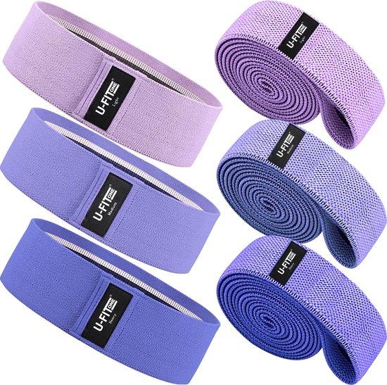 U Fit One® 6 Delige Resistance Band Set - Weerstandsbanden set - Fitness elastiek set - Elastieken - Weerstandsband - Fysiotherapie -Yogaband - Pilatesband - Yoga - Pilates