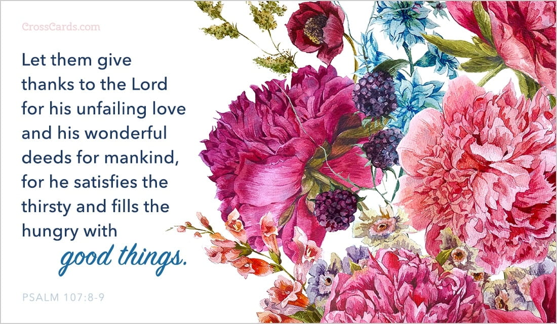 Free Good Things Psalm 1078 9 ECard EMail Free