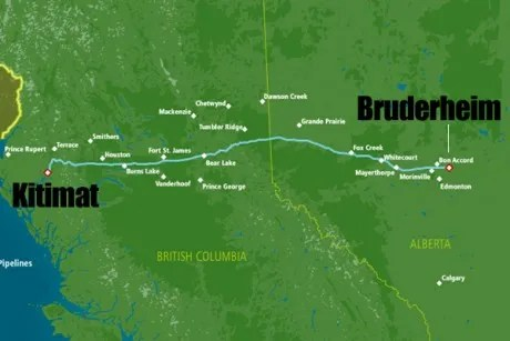 Map of the Northern Gateway pipeline