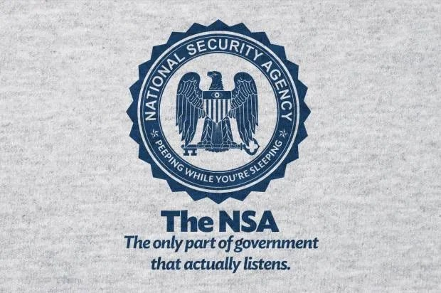 T-shirt image with mock NSA logo and 'The only part of the government that actually listens'