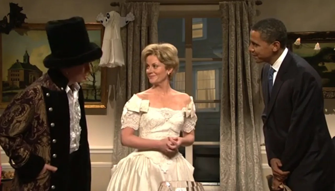 "Barack Obama shed his Obama mask on ""Saturday Night Live."" Darrell Hammond and Amy Poehler were the Clintons. November, 2007."