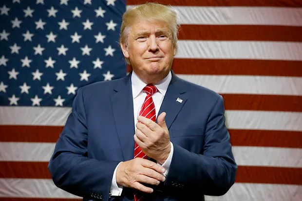 Donald Trump with US flag background